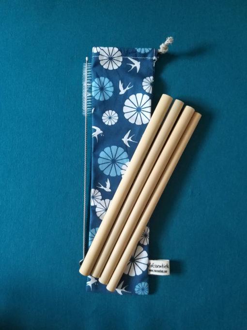4 pailles bambou